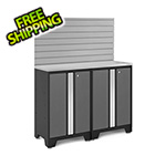 NewAge Garage Cabinets BOLD Series 3.0 Grey 4-Piece Set with Stainless Top and Backsplash
