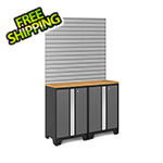 NewAge Garage Cabinets BOLD Series 3.0 Grey 4-Piece Set with Bamboo Top and 16 Sq. Ft. Steel Slatwall