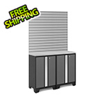 NewAge Garage Cabinets BOLD Series 3.0 Grey 4-Piece Set with Stainless Top and 16 Sq. Ft. Steel Slatwall