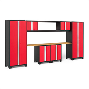 BOLD Series 3.0 Red 9-Piece Garage Cabinet System with Bamboo Worktop