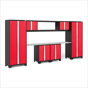 BOLD Series 3.0 Red 9-Piece Garage Cabinet System with Stainless Worktop
