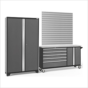BOLD 3.0 Grey 2-Piece Project Center Set with Stainless Top and Backsplash