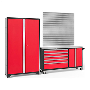 BOLD 3.0 Red 2-Piece Project Center Set with Stainless Top and Backsplash