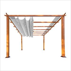 11 x 16 ft. Verona Aluminum Pergola (Canadian Wood / Silver Canopy)