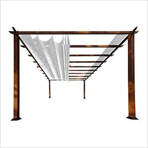 11 x 16 ft. Verona Aluminum Pergola (Chilean Wood / Silver Canopy)