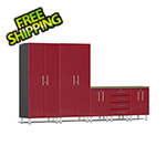Ulti-MATE Garage Cabinets 6-Piece Cabinet Kit with Bamboo Worktop in Ruby Red Metallic