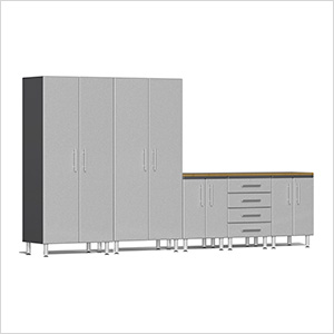 6-Piece Cabinet Kit with Bamboo Worktop in Stardust Silver Metallic