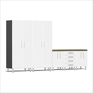6-Piece Cabinet Kit with Bamboo Worktop in Starfire White Metallic