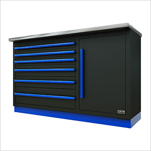 2 x Fusion Pro Tool Chests with Stainless Steel Work Surfaces (Blue)