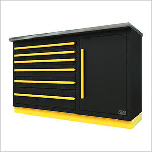 2 x Fusion Pro Tool Chests with Stainless Steel Work Surfaces (Yellow)