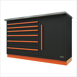 2 x Fusion Pro Tool Chests with Stainless Steel Work Surfaces (Orange)