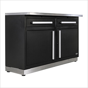 2 x Fusion Pro Base Cabinets with Stainless Steel Work Surfaces (Silver)