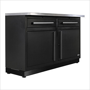 2 x Fusion Pro Base Cabinets with Stainless Steel Work Surfaces (Black)