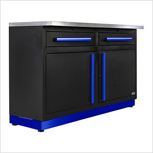 2 x Fusion Pro Base Cabinets with Stainless Steel Work Surfaces (Blue)
