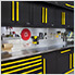 2 x Fusion Pro Base Cabinets with Stainless Steel Work Surfaces (Yellow)