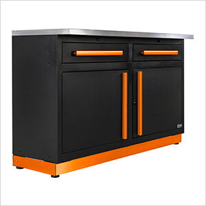 2 x Fusion Pro Base Cabinets with Stainless Steel Work Surfaces (Orange)
