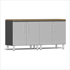 3-Piece Workstation Kit with Bamboo Worktop in Stardust Silver Metallic
