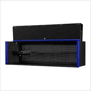 DX Series 72-Inch Black Triple Bank Hutch with Blue Trim