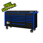 Extreme Tools DX Series 72-Inch Black Rolling Tool Chest with Blue Trim