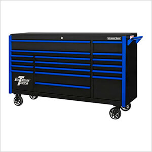 DX Series 72-Inch Black Rolling Tool Chest with Blue Trim