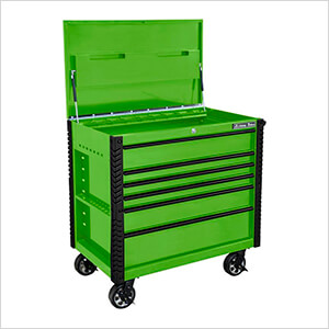EX Series Green 41-Inch 6-Drawer Tool Cart with Bumpers