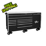 Extreme Tools Professional Black 76-inch 12-Drawer Roller Cabinet with Stainless Steel Top
