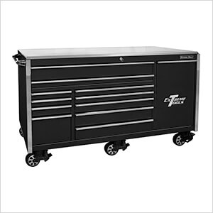 Professional Black 76-inch 12-Drawer Roller Cabinet with Stainless Steel Top