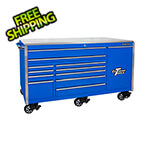Extreme Tools Professional Blue 76-inch 12-Drawer Roller Cabinet with Stainless Steel Top