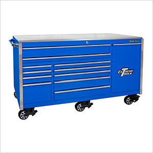 Professional Blue 76-inch 12-Drawer Roller Cabinet with Stainless Steel Top