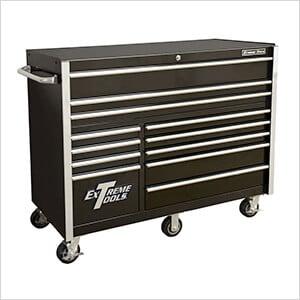 RX Series 55-Inch Black 12-Drawer Roller Cabinet