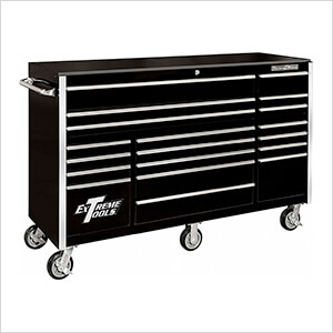 RX Series 72-Inch Black 19-Drawer Roller Cabinet
