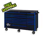 Extreme Tools RX Series 72-Inch Black 19-Drawer Roller Cabinet with Blue Trim