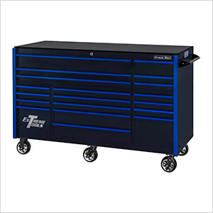 RX Series 72-Inch Black 19-Drawer Roller Cabinet with Blue Trim