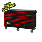 Extreme Tools RX Series 72-Inch Black 19-Drawer Roller Cabinet with Red Trim