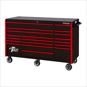 RX Series 72-Inch Black 19-Drawer Roller Cabinet with Red Trim