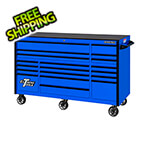 Extreme Tools RX Series 72-Inch Blue 19-Drawer Roller Cabinet with Black Trim