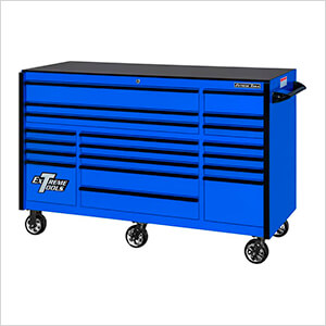 RX Series 72-Inch Blue 19-Drawer Roller Cabinet with Black Trim