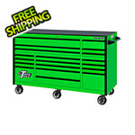 Extreme Tools RX Series 72-Inch Green 19-Drawer Roller Cabinet with Black Trim