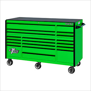 RX Series 72-Inch Green 19-Drawer Roller Cabinet with Black Trim