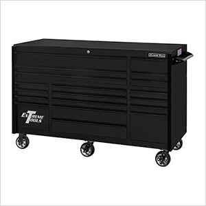 RX Series 72-Inch Black 19-Drawer Roller Cabinet with Black Trim
