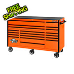 Extreme Tools RX Series 72-Inch Orange 19-Drawer Roller Cabinet with Black Trim