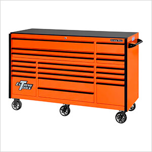 RX Series 72-Inch Orange 19-Drawer Roller Cabinet with Black Trim