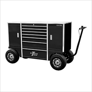 70-Inch Black Pit Box with 7 Drawers and 2 Side Compartments
