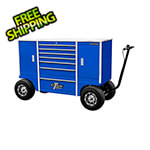 Extreme Tools 70-Inch Blue Pit Box with 7 Drawers and 2 Side Compartments