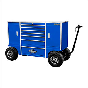 70-Inch Blue Pit Box with 7 Drawers and 2 Side Compartments