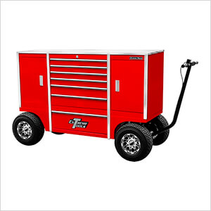 70-Inch Red Pit Box with 7 Drawers and 2 Side Compartments