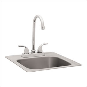 15-Inch Outdoor Single Bowl Stainless Steel Drop-In Sink
