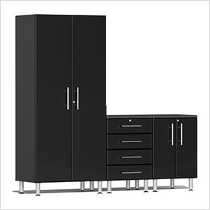 4-Piece Cabinet Kit with Channeled Worktop in Midnight Black Metallic