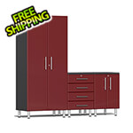 Ulti-MATE Garage Cabinets 4-Piece Cabinet Kit with Channeled Worktop in Ruby Red Metallic