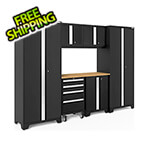 NewAge Garage Cabinets BOLD Series Black 7-Piece Set with Bamboo Top and LED Lights